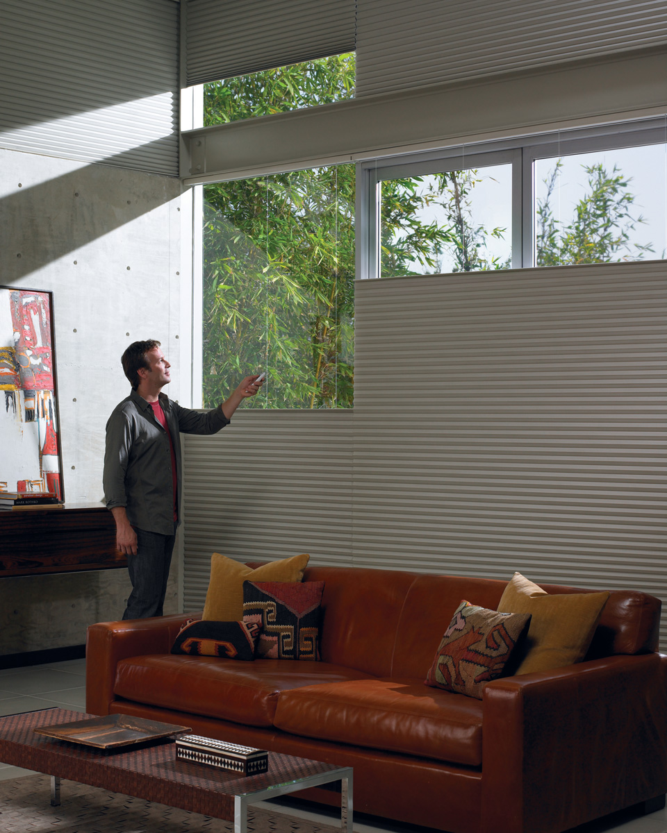 Media room window shades lake ozark osage beach mo for Hunter douglas motorized blinds cost